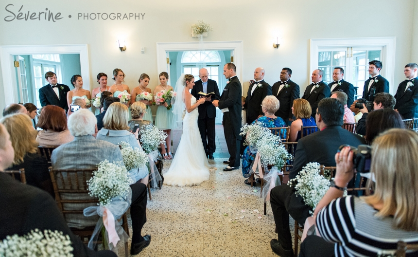 Wedding ceremony with teal theme at the Ribault Club